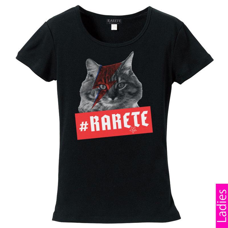 RARETE (ラルテ)   猫 デビットボウイ イナズマ  Tシャツ  ブラック  星柄 star (レディース)