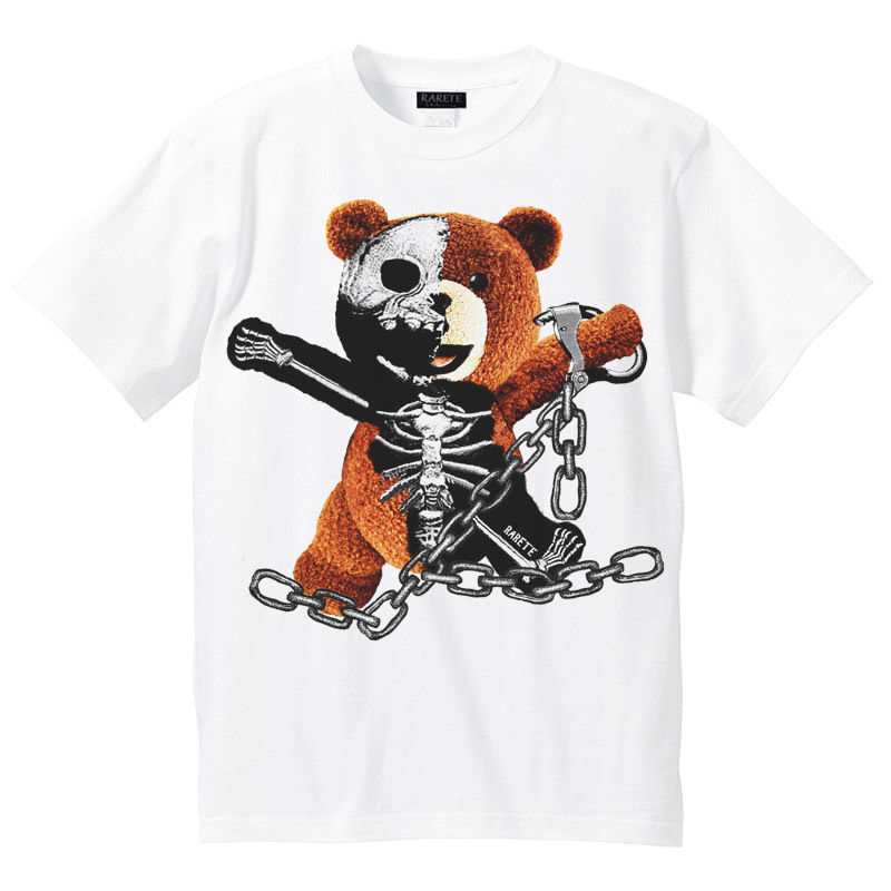 RARETE (ラルテ)    テディベア ガイコツ 鎖   Tシャツ ホワイト