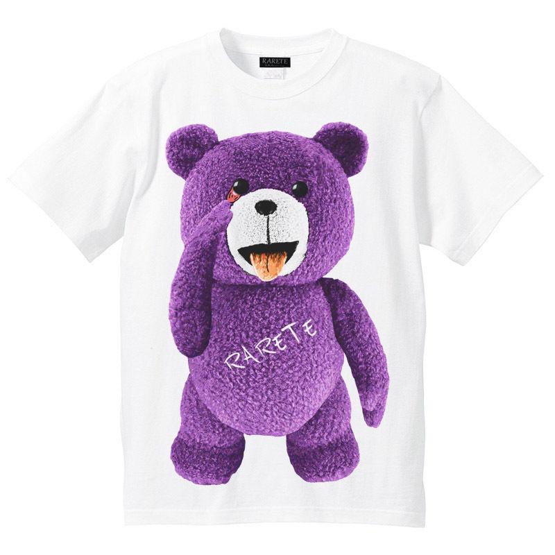 RARETE (ラルテ)  テディベア  あっかんベー!【紫色】 Tシャツ ホワイト