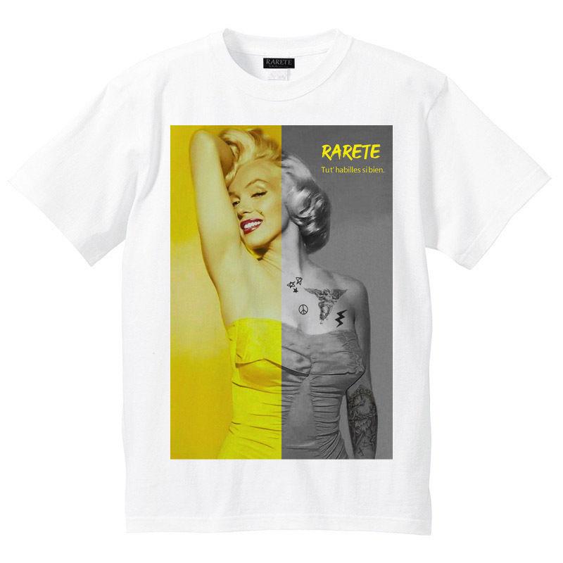 RARETE (ラルテ)    マリリンモンロー ハーフ イエロー Tシャツ  ホワイト