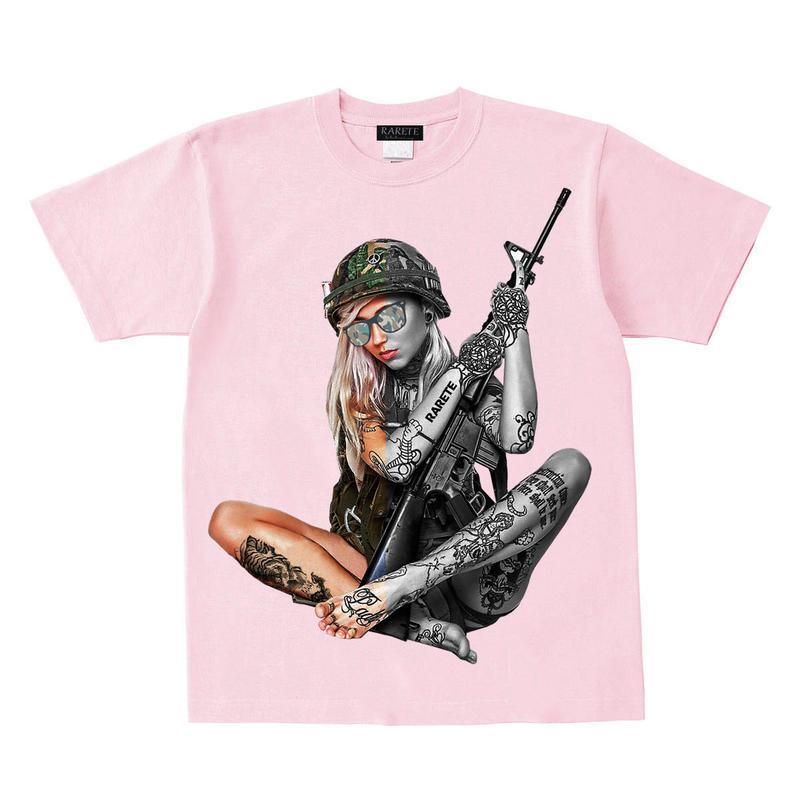 RARETE (ラルテ)  Girl 迷彩 ハーフ   Tシャツ ライトピンク