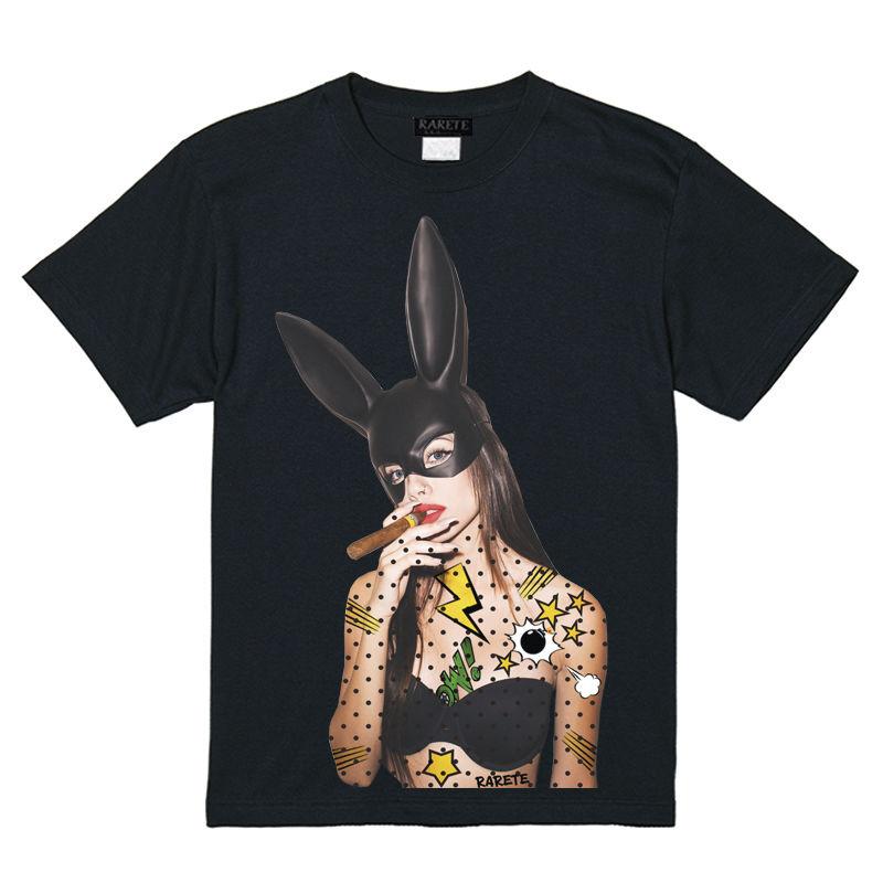 RARETE (ラルテ)    バニー 葉巻 アメコミ Tシャツ  ブラック