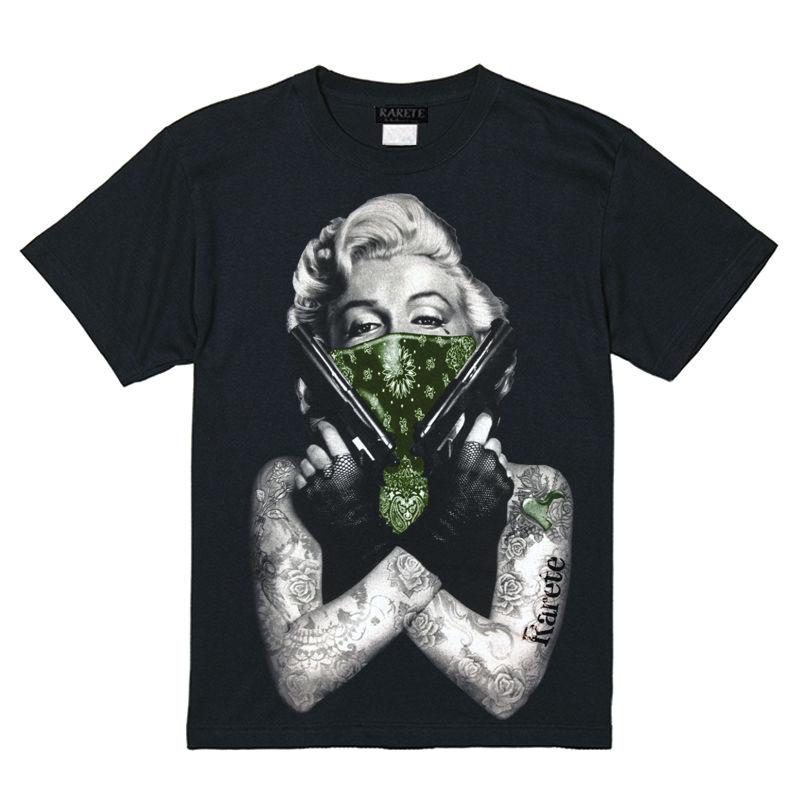 RARETE (ラルテ)  マリリンモンロー 両手銃  グリーン  Tシャツ ブラック