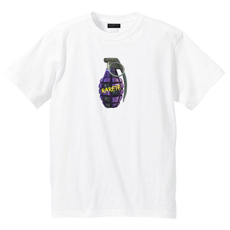 RARETE (ラルテ)    SOS 手榴弾 バックプリント  Tシャツ  ホワイト