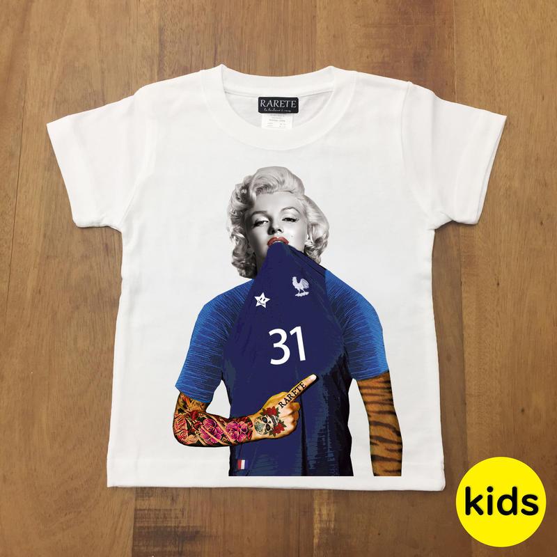 RARETE (ラルテ) マリリンモンロー トラ フランス Tシャツ   ホワイト 星柄 star (Kids)