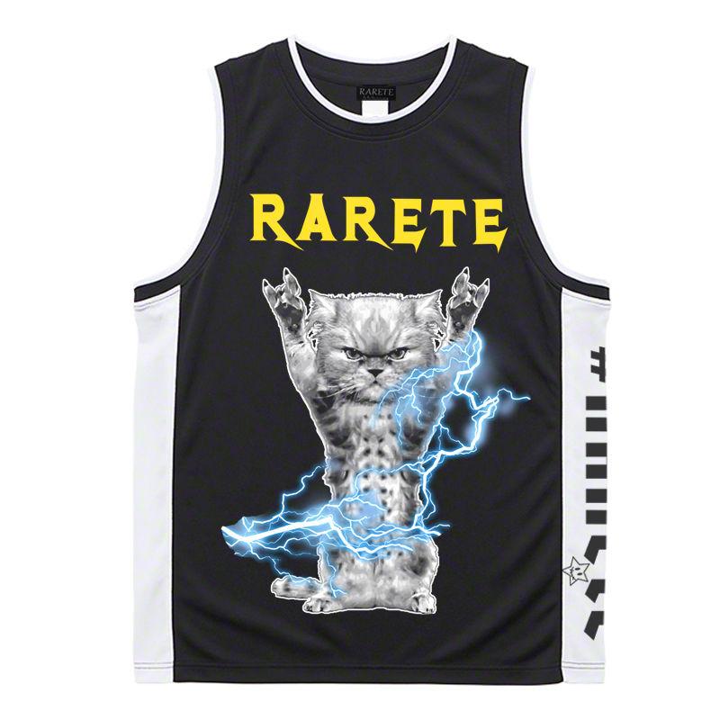 RARETE (ラルテ)   CAT イナズマ 猫 ブラック バスケットボールシャツ