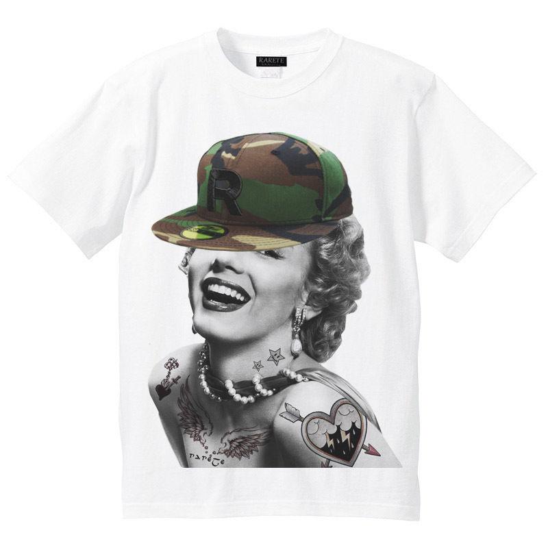 RARETE (ラルテ)    マリリンモンロー 迷彩 キャップ Tシャツ  ホワイト
