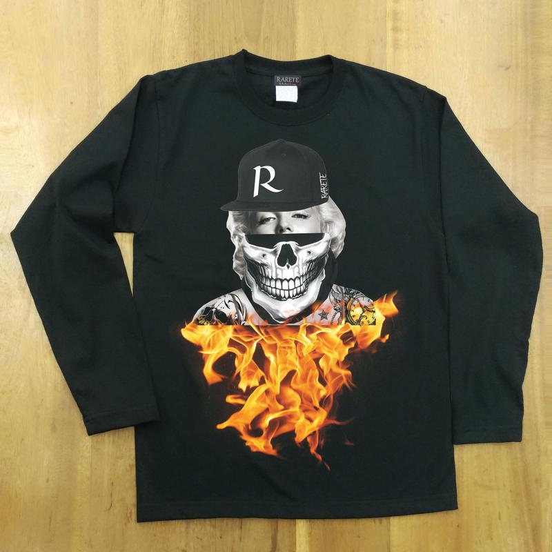 RARETE (ラルテ)  マリリンモンロー キャップ 炎 ドクロ ブラック  長袖Tシャツ