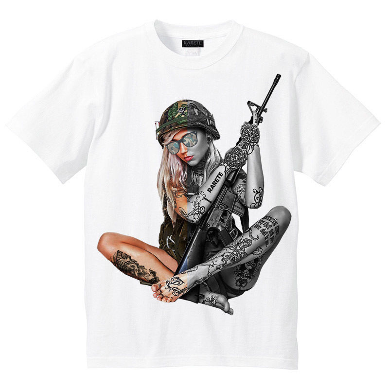 RARETE (ラルテ)  Girl 迷彩 ハーフ   Tシャツ ホワイト