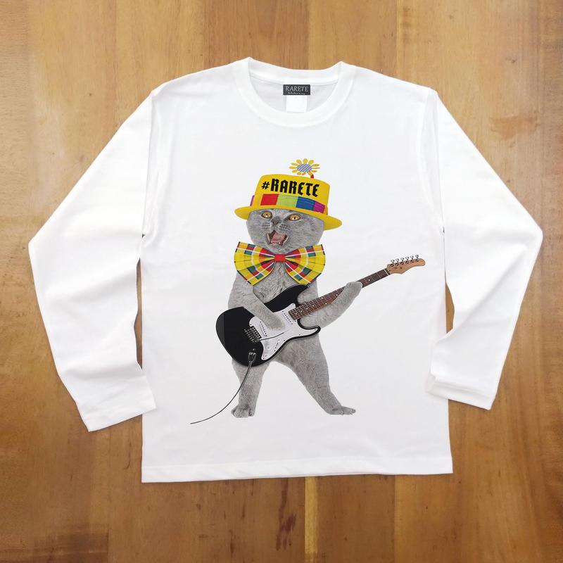 RARETE (ラルテ)  猫 ギター  ホワイト  長袖Tシャツ