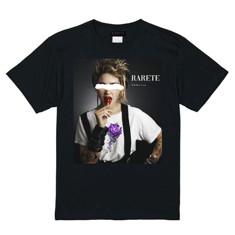RARETE (ラルテ)  md  BLACK Flower   Tシャツ ブラック