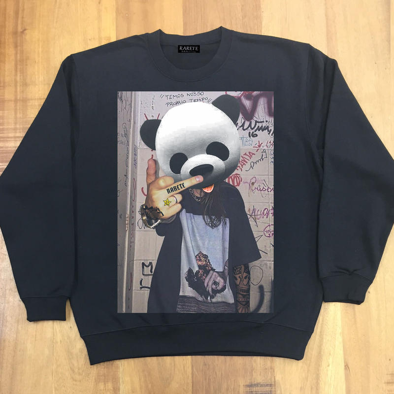 RARETE (ラルテ)  Panda tatoo  スエット   ブラック  星柄 star(裏パイル)