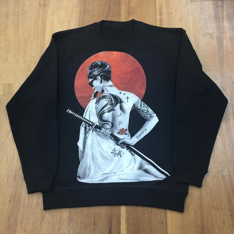 RARETE (ラルテ)  JAPAN Hepburn 侍 スエット ブラック  星柄 star(裏パイル)