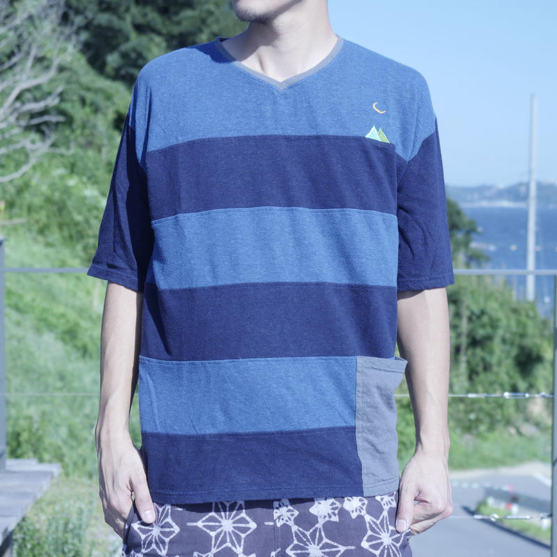 Teppo Border T-shirts  Navy  Hemp