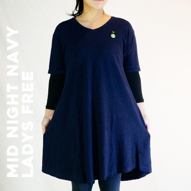 EARTH & MOON TEPPO ショートワンピース Mid Night Navy Hemp
