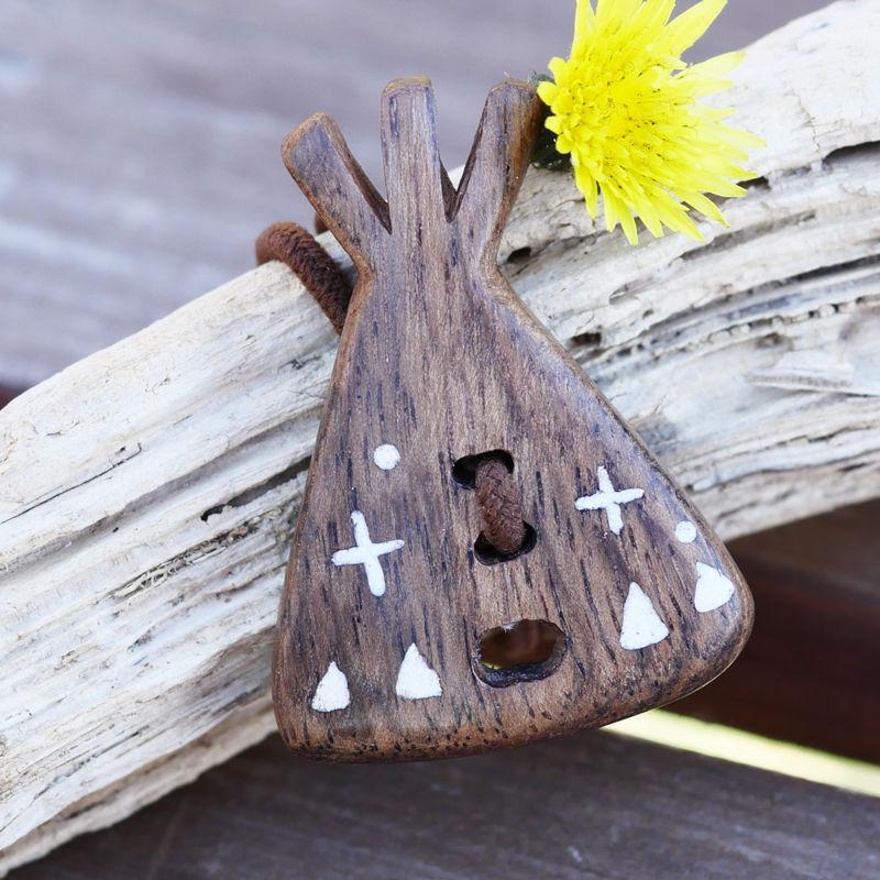 ウッドへアゴム 手彫り天然石