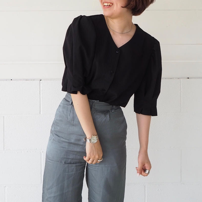 puff sleeve blouse(BLK)