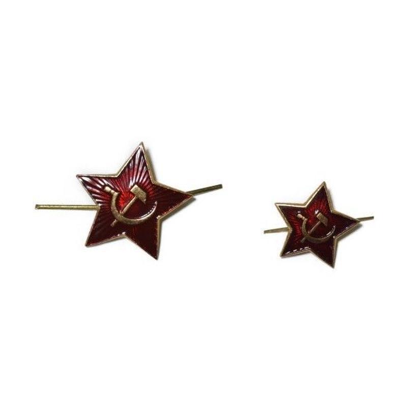 ソ連製 大サイズ 赤い星 徽章 帽章 カラー