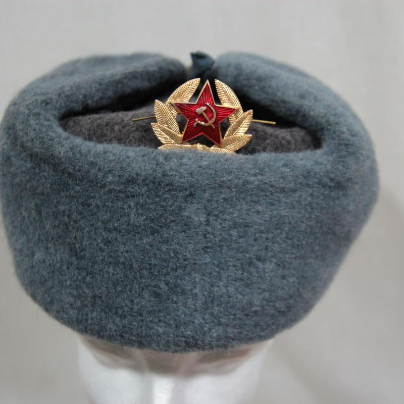 初期ロシア製 兵用 ウシャンカ  帽章付き