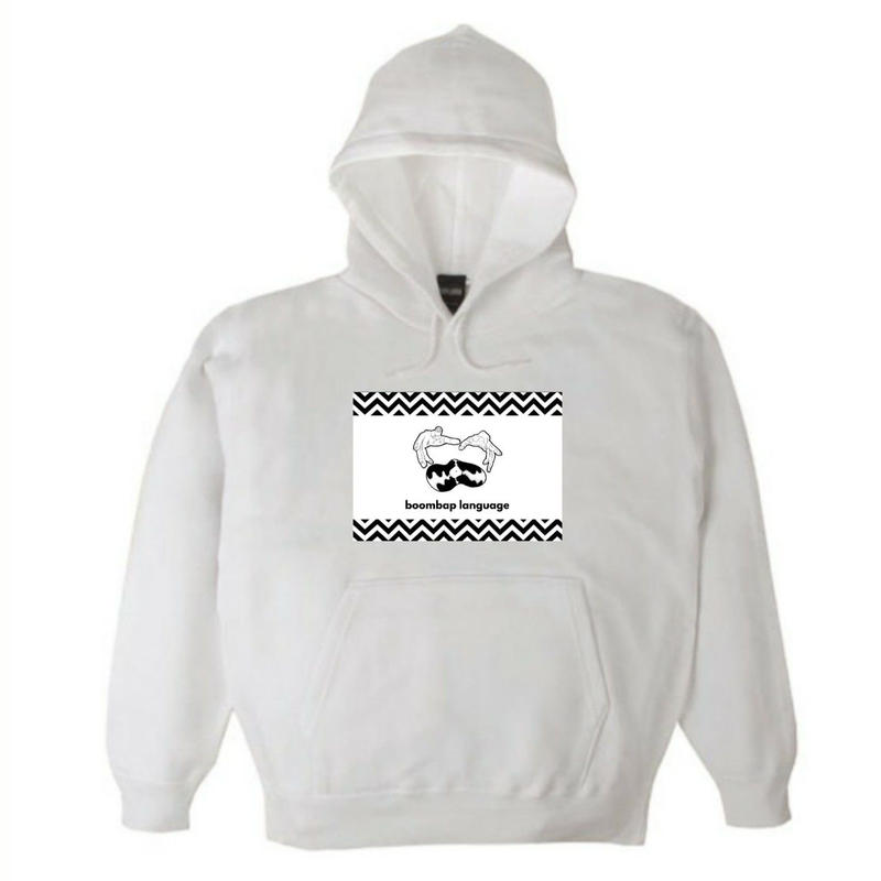 boombap language hoody (white)