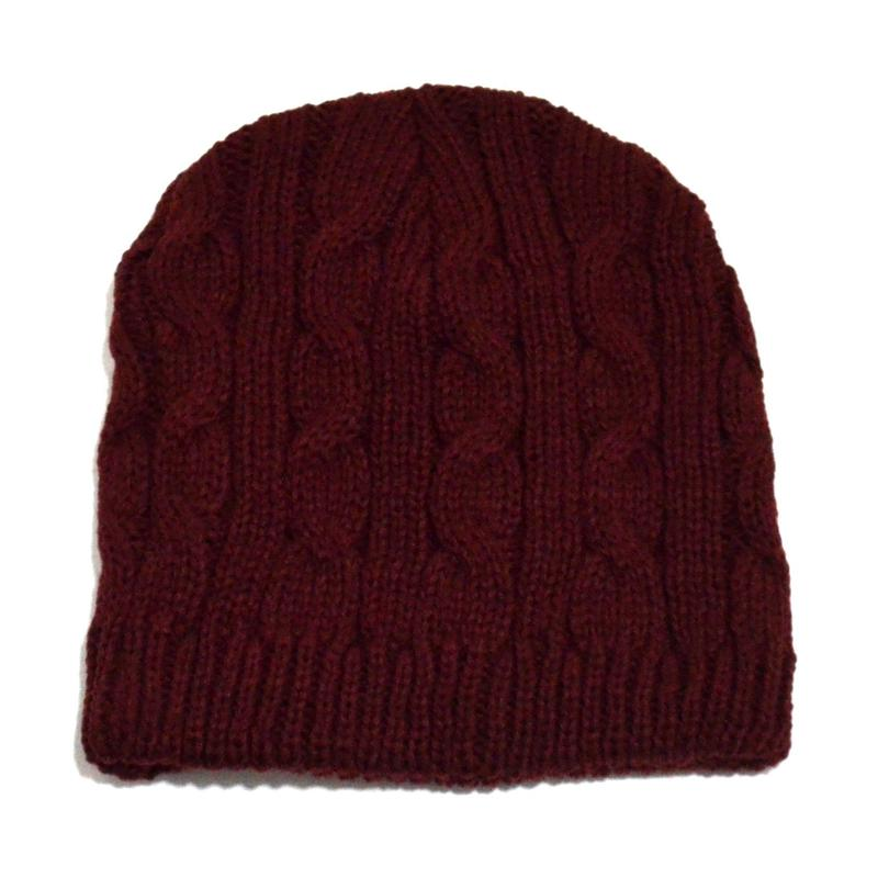 NEW YORK HAT (CABLE BEANIE) BURGUNDY