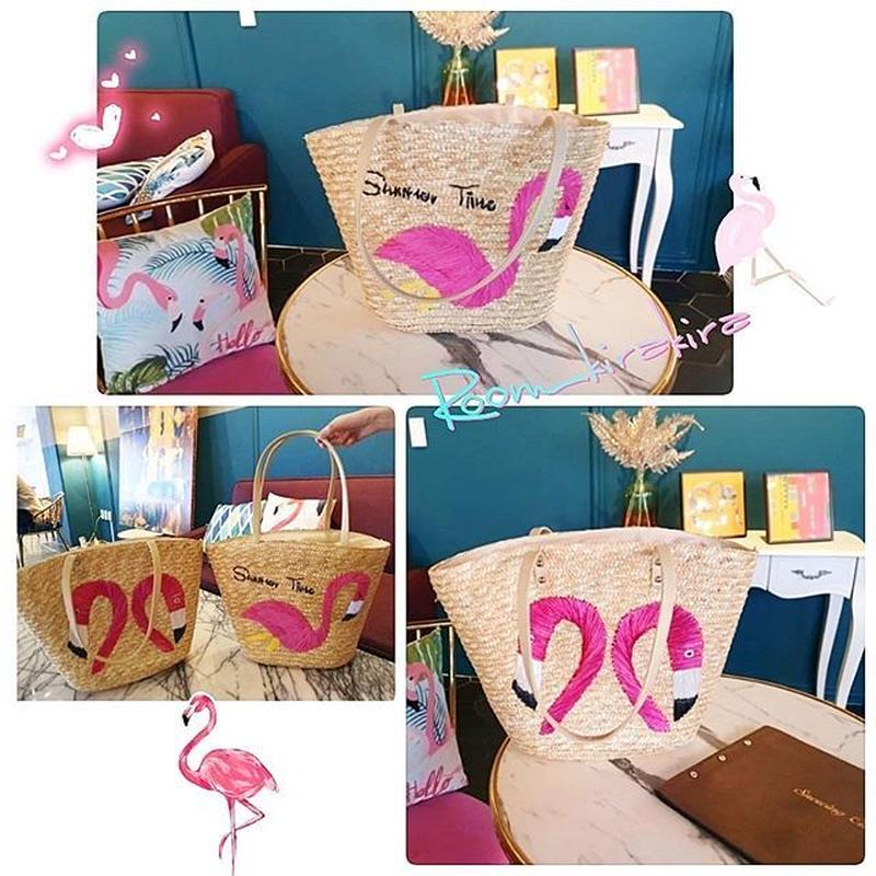 ピンクのフラミンゴカゴトートバッグ
