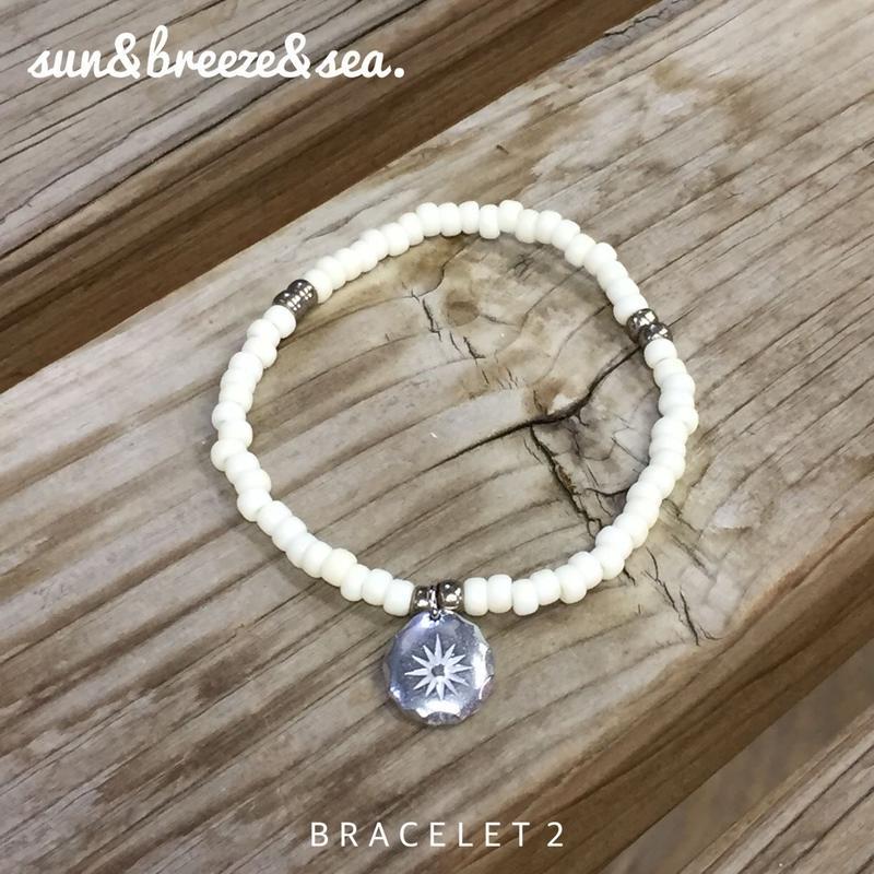 ビーズブレスレット 2・レディース・sun&breeze&sea.・ホワイトハーツ・ガラスビーズ・日本製
