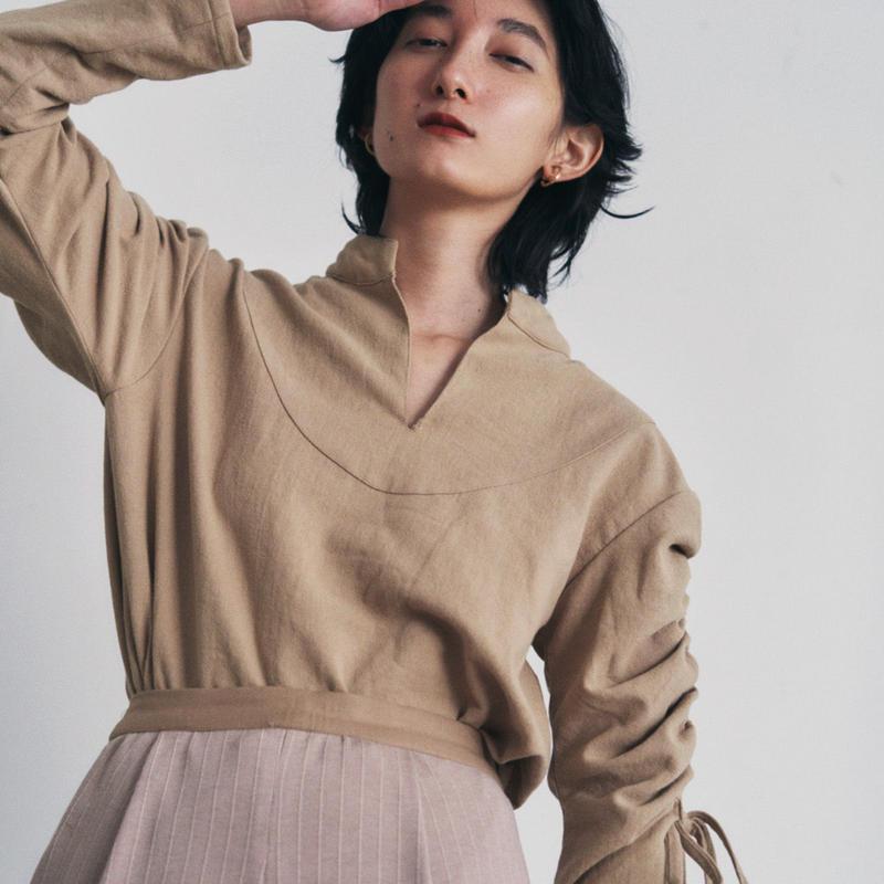 【&her】Drawstring  Shirts/Brown