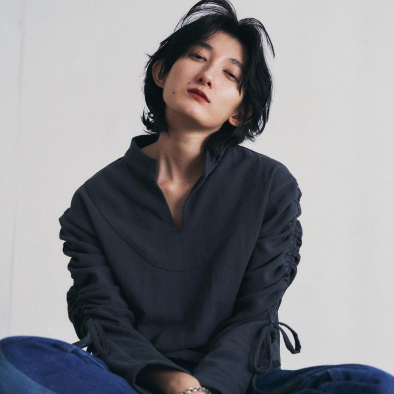 【&her】Drawstring  Shirts/CharcoalGray