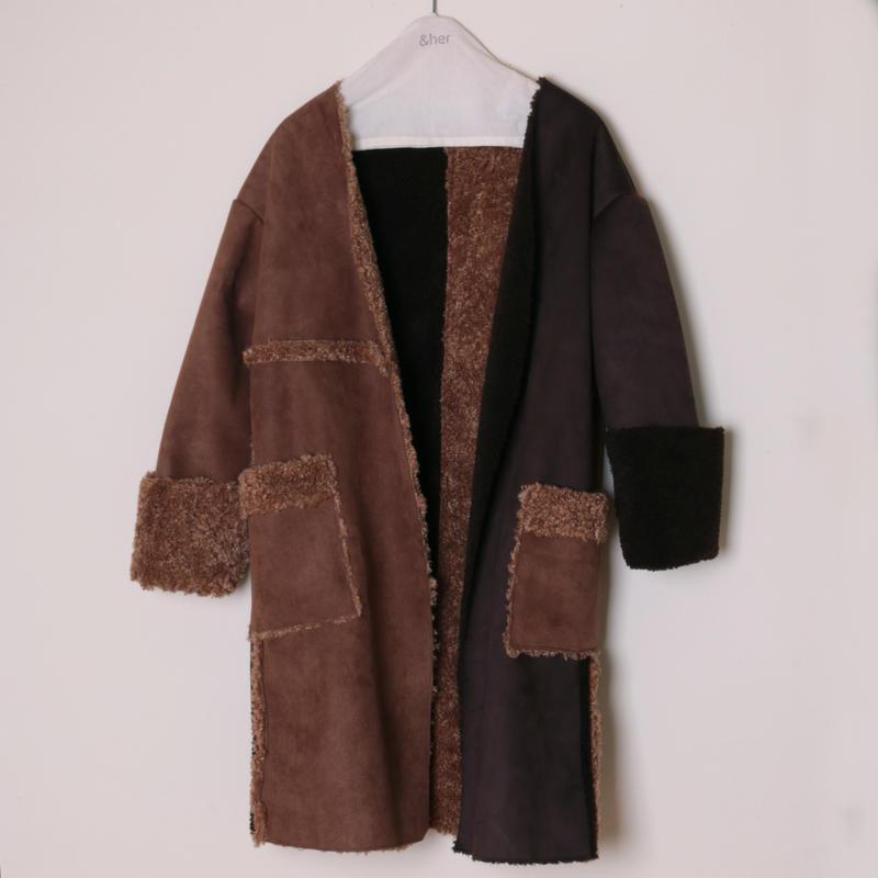 【&her】Reversible Mouton Coat/Brown