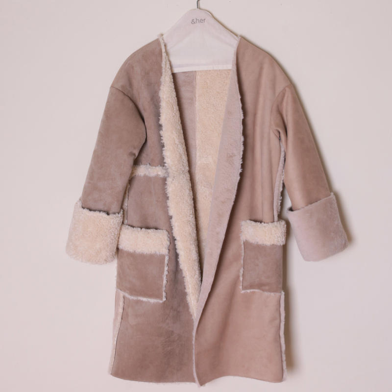 【&her】Reversible Mouton Coat/Ivory