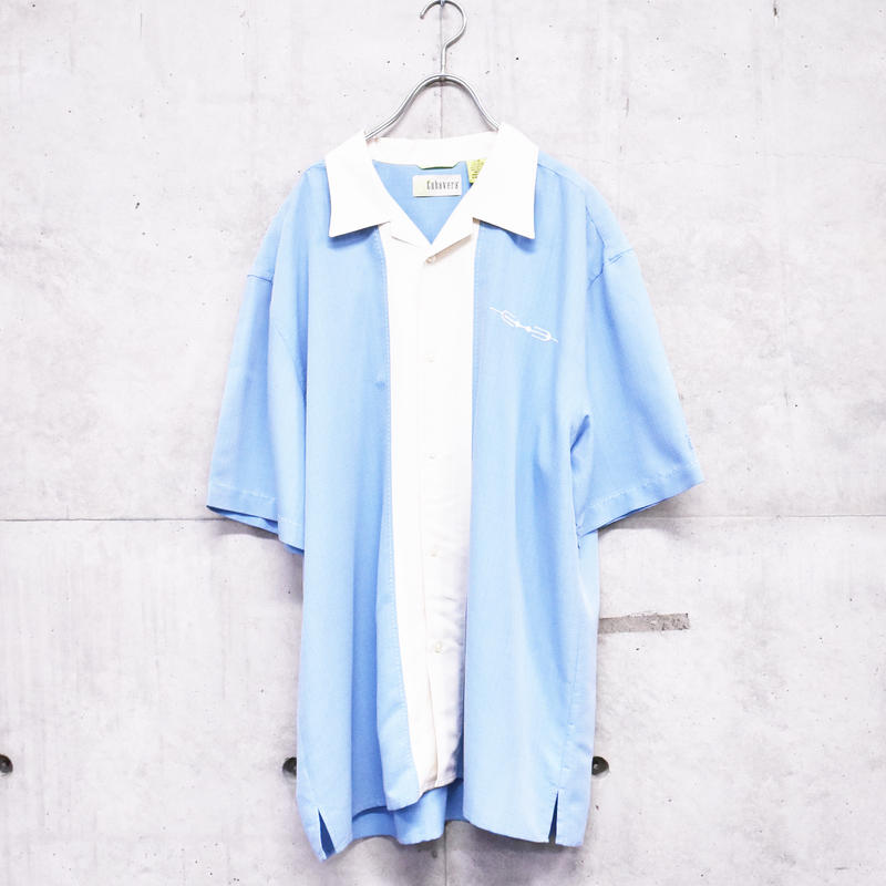 2tone one point  open collar shirt