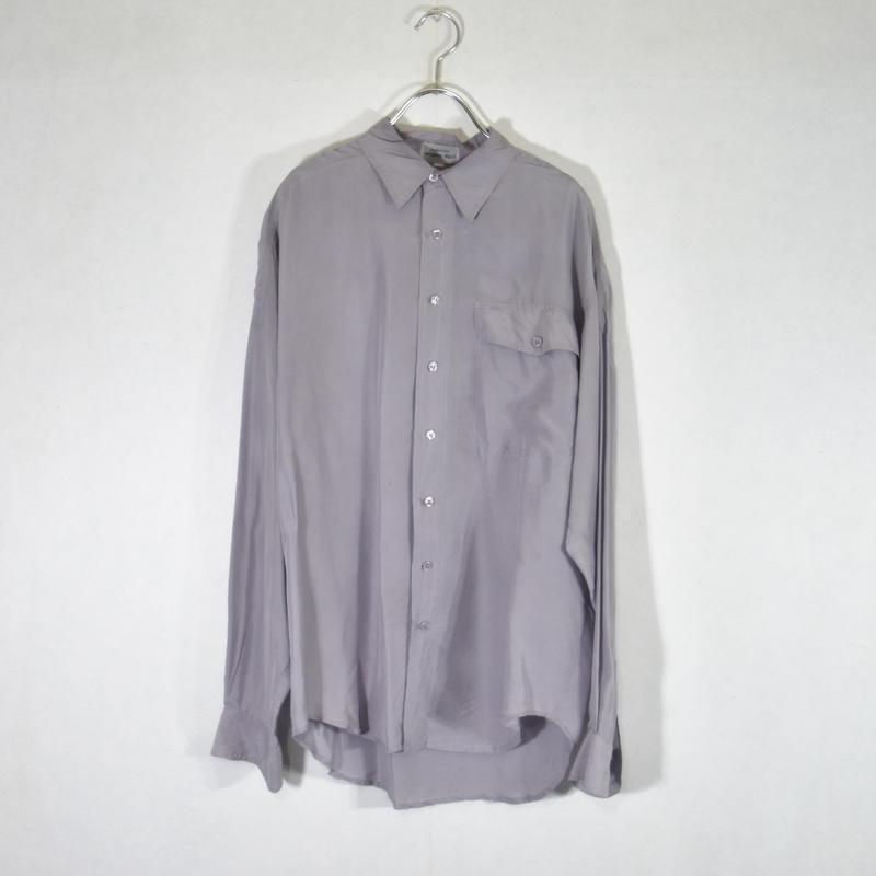 シルクシャツ Lパープル/S-0027
