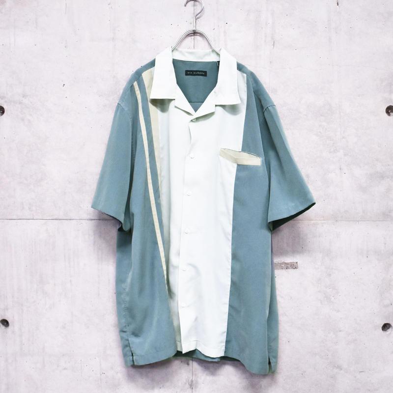 3tone S/S open collar shirt