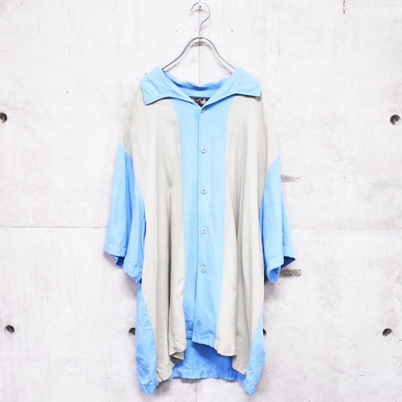 2tone design silk shirt