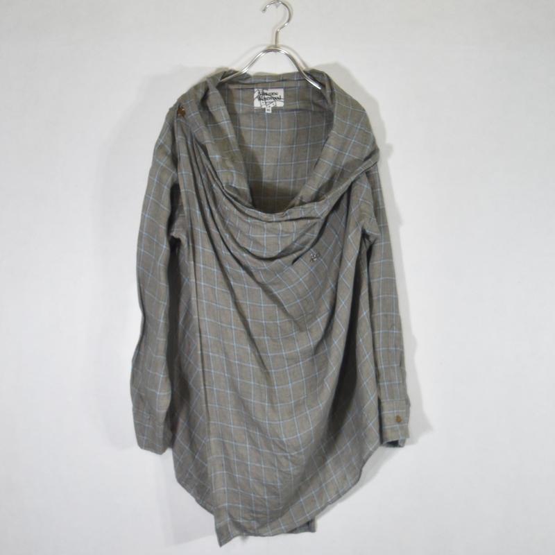 Vivienne  Westwood デザインリネンチェックシャツ/S-0030