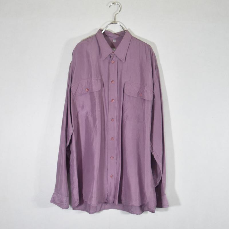 シルクシャツ Lパープル/S-0025