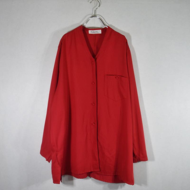 ノーカラーデザインシャツ/S-0021