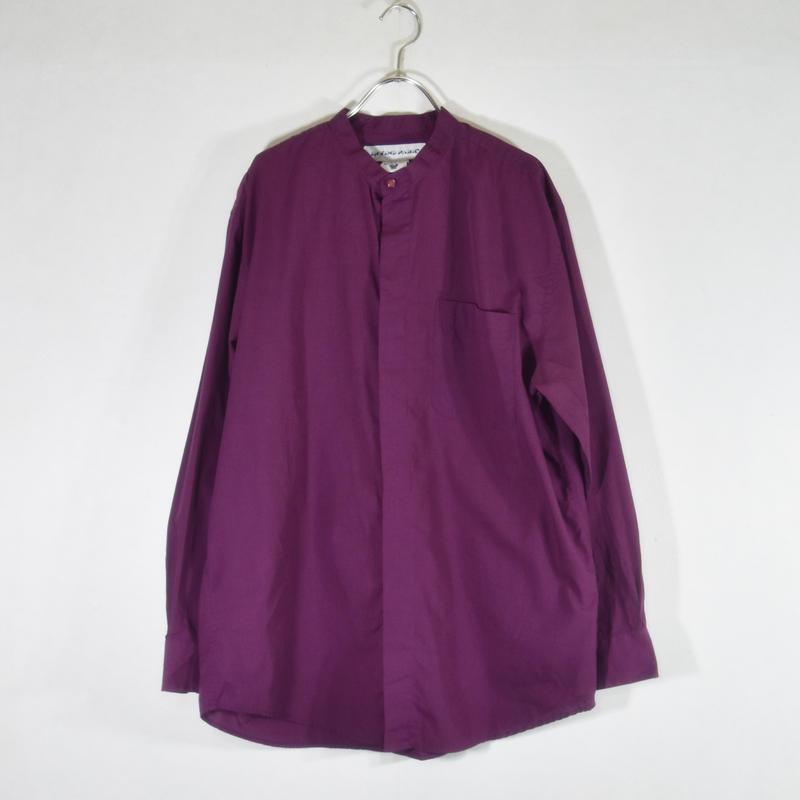 ノーカラーポリコットンシャツ  パープル/SS-0014