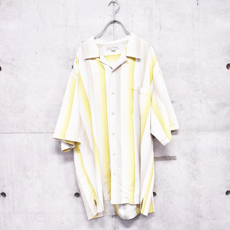 open collar silk stripe shirt