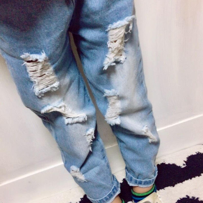【Kids 】ripped denim