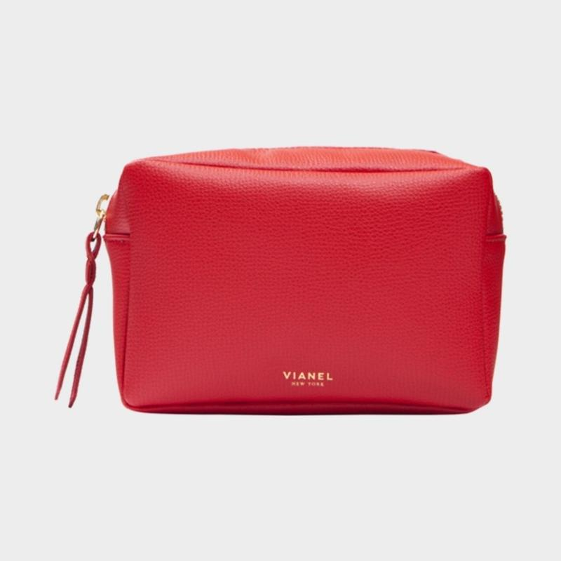 VIANEL NEW YORK COSMETIC BAG - CALFSKIN RED