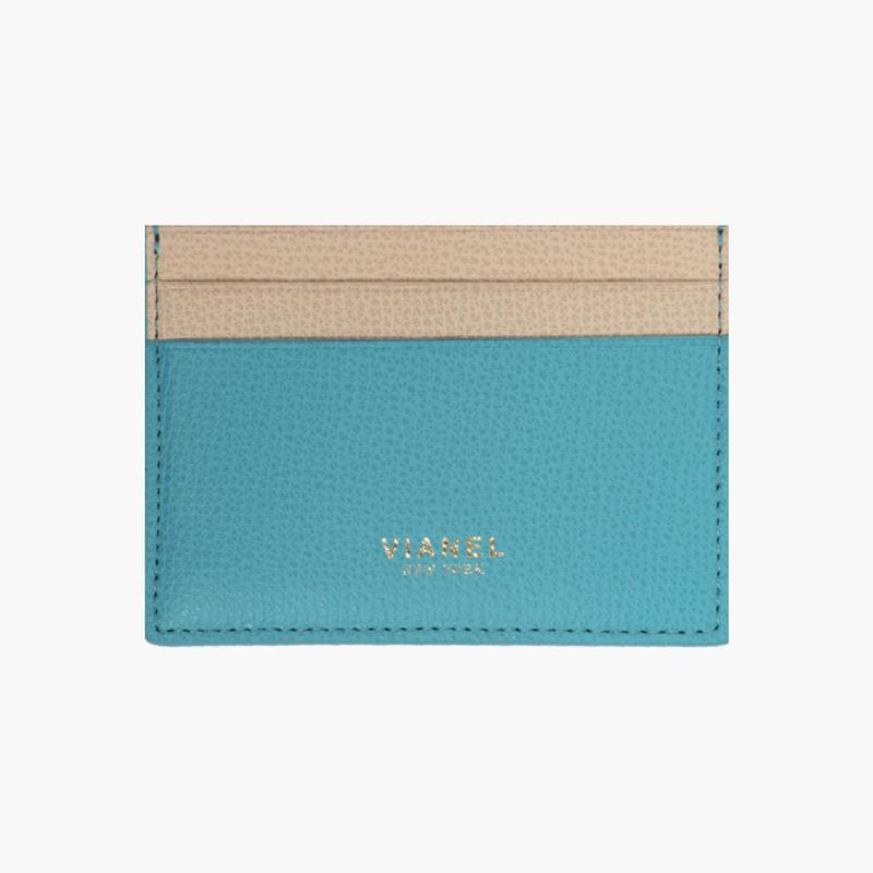 VIANEL NEW YORK /  V3 CARD HOLDER - Carfskin Turquoise / Crème