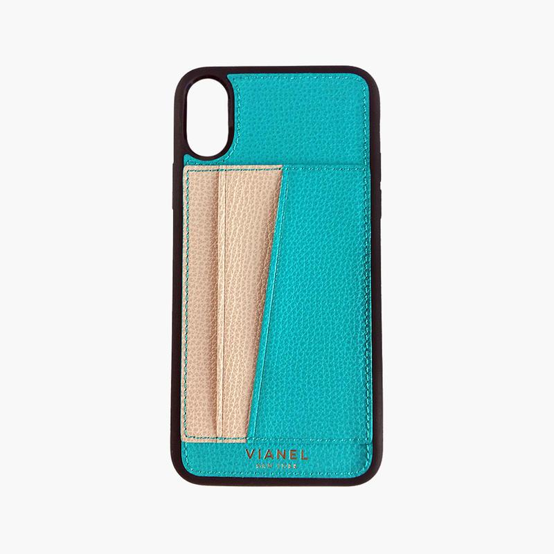 VIANEL NEW YORK / Flex iPhone X/XS Case - Calfskin Turquoise / Crème