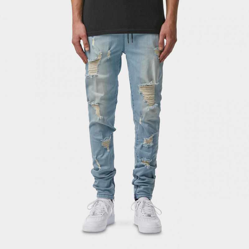 I LOVE UGLY / ZESPY PANT DENIM MID RISE - HEAVEY DISTRESSED