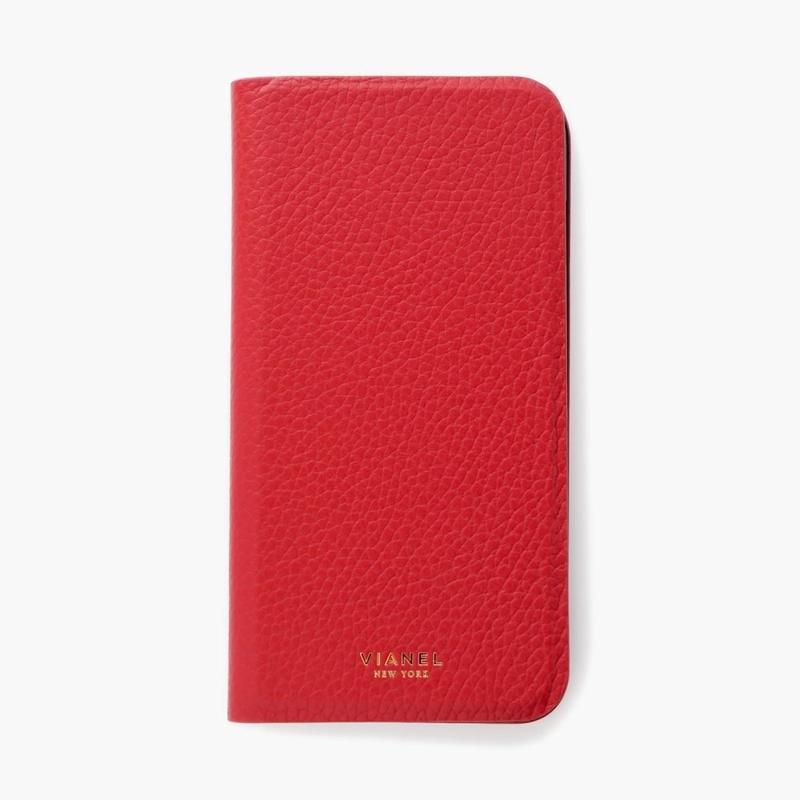 VIANEL NEW YORK - Folding iPhone 8Plus/7Plus Case - Calfskin Red