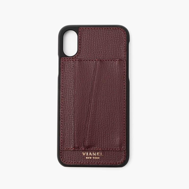 VIANEL NEW YORK Card Holder iPhone Xs/X Case - CALFSKIN OXBLOOD