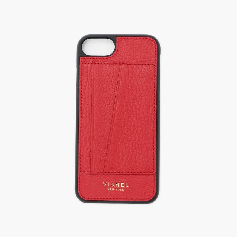 VIANEL NEW YORK - Cardholder iPhone 8/7 Case - Calfskin Red