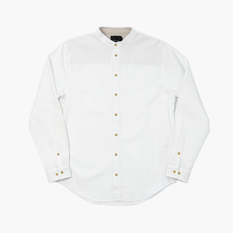 I LOVE UGLY / MANDARIN COLLAR SHIRT - WHITE