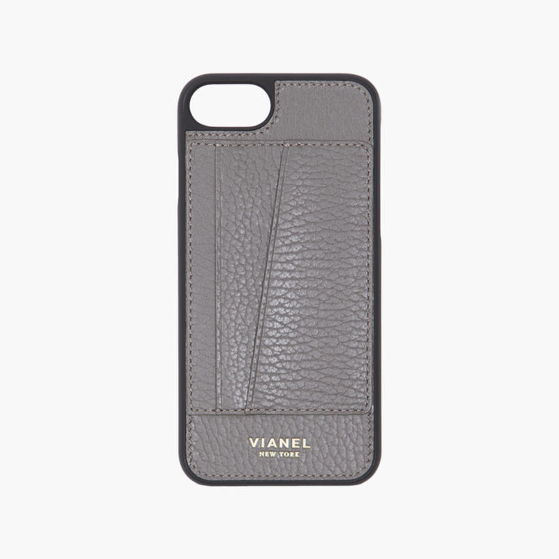 VIANEL NEW YORK / Cardholder iPhone 8/7 Case - Calfskin Grey